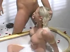 Cute nymph does wild blowjob to bloke in milk bath