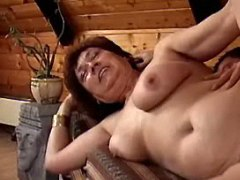 Perky old woman gets fuck in attic