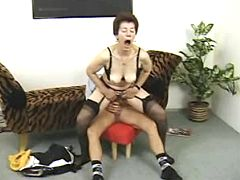 Kinky granny enjoys young tough rod