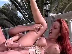 Busty beauty gets fucked in nature