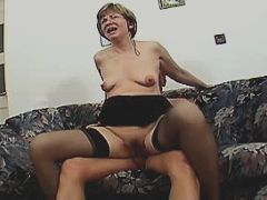 Aged mature sucks cock and fucks in diff positions