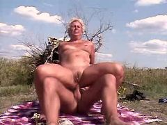 Granny does blowjob and has hard anal fuck outdoor