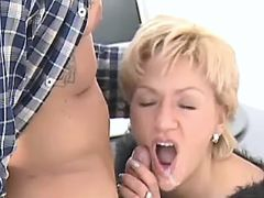 Blonde secretary gets cum in mouth after blowjob