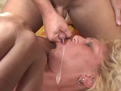 Hot granny gets fuck in ass and cumload in mouthed