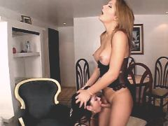 Blonde beautiful shemale getting blowjob with girl
