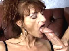 Old whore with pierced clitor sucks