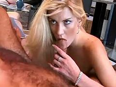Blonde catching cum after oral fun
