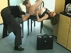 Cute hot secretary sucks