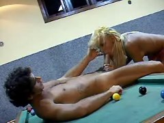 Blonde shemale sucking in poolroom