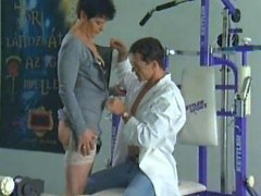 Lustful housewife having sex in gym