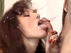 Brunette gets her face dirty in cum