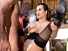 Brunette beauty gets fucked in bar