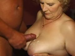 Man fucks grandma in doggy style and jizz on boobs