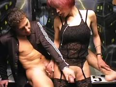 Secretary shemale and boss play with hard cocks