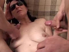 Depraved mature in stockings gets double cumload