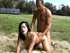 Beauty gets anal massage on hayloft