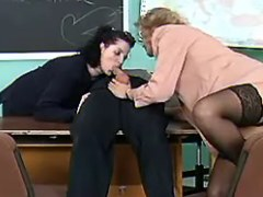 Milf teachers share cock in school