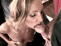 Blonde mature has anal from behind and gets facial