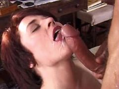 Brunette milf gets facial after fuck in all holes