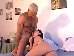 Playful cockloving brunette sucking grizzled hubby