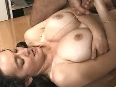 Hot mature office lady gets cumload on big tits