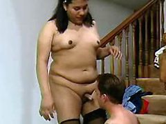 Guy suking cock and fucking fat shemale on stair