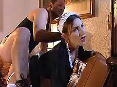 Man fucks beauty maid in two holes