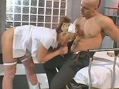 Beautiful blond nurse fucking with bloke in clinic