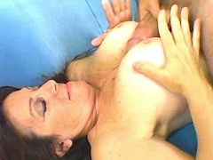 Man gets blowjob from crummy mom n fucks her tits