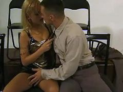 Hot secretary in latex seduces boss