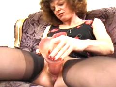 Grandma has fun with monster dildo