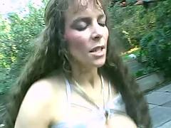 Chesty mature fucks in garden