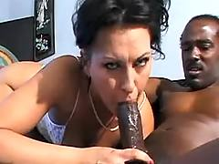 Slut sucks big black dick