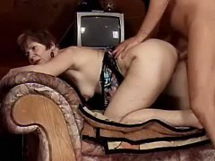 Mature housewife hammered in attic