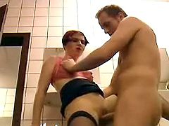 Slut get fucked in toilet
