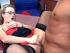Secretary fucks on table