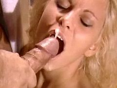 Sexy blonde catching cum after anal
