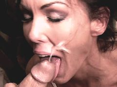 Aged brunette mature does blowjob and gets facial