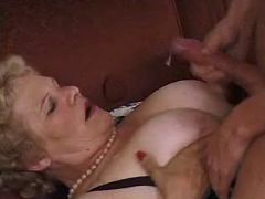 Chubby granny rides cock and gets cumload on boobs