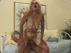 Granny in stockings fucked by man in every poses