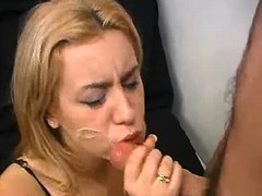 Yummy blonde in black stockings gets facial on bed