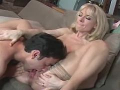 Sexy beautiful mature in stockings licked by guy