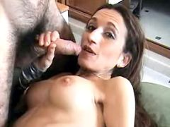Naughty mom swallowing big mouthful