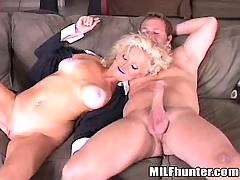 Mature suck cock on sofa
