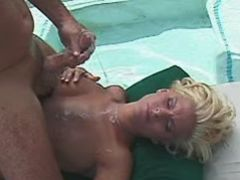 Beautiful blonde milf gets cum on tits after fuck