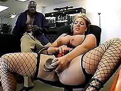 Chesty secretary seduces black boss