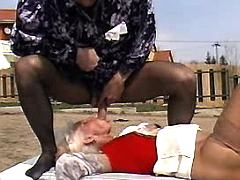 Blonde mature and man have oral sex