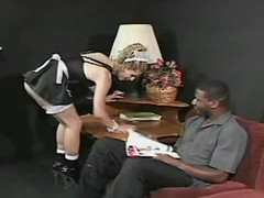 Hot transsexual maid tempts blackie