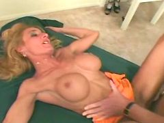 Blonde milf with beauty tits has fun with bald man