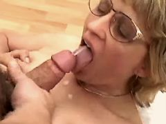 Blonde mature fucks in all poses and gets facial